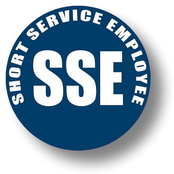 Short Service Employee (SSE) Hard Hat Sticker - White Text on Blue Background - 2 inch diameter