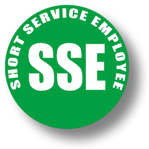 Short Service Employee (SSE) Hard Hat Sticker - White Text on Green Background - 2 inch diameter