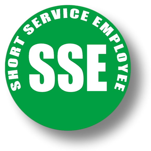 Reflective Short Service Employee (SSE) Hard Hat Sticker - White Text on Green Background - 2 inch diameter