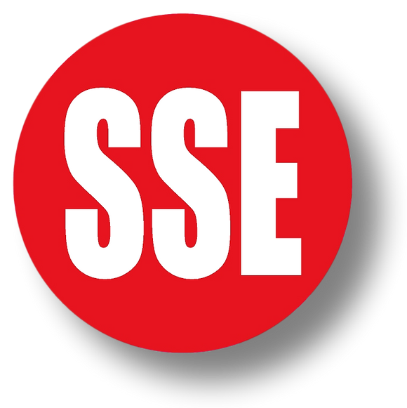 Reflective Short Service Employee (SSE) Hard Hat Sticker - White Text on Red Background - 1.5 inch diameter