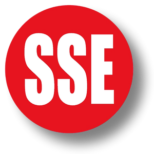 Reflective Short Service Employee (SSE) Hard Hat Sticker - White Text on Red Background - 2 inch diameter