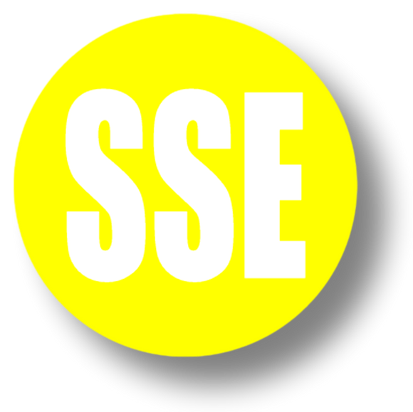 Short Service Employee (SSE) Hard Hat Sticker - White Text on Yellow Background - 2 inch diameter