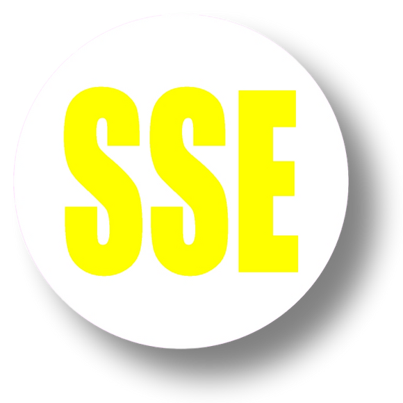 Short Service Employee (SSE) Hard Hat Sticker - Yellow Text on White Background - 1.5 inch diameter