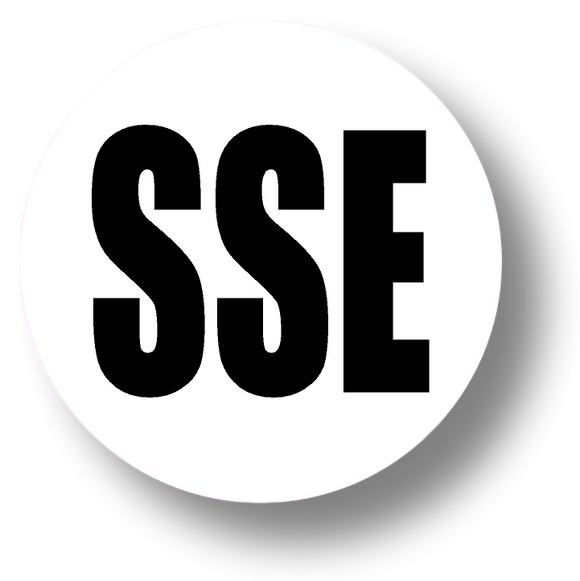 Short Service Employee (SSE) Hard Hat Sticker - Black Text on White Background - 2 inch diameter