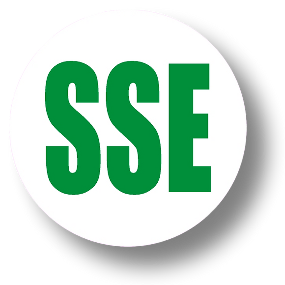 Short Service Employee (SSE) Hard Hat Sticker - Green Text on White Background - 1.5 inch diameter