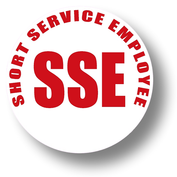 Short Service Employee (SSE) Hard Hat Sticker - Red Text on White Background - 1.5 inch diameter