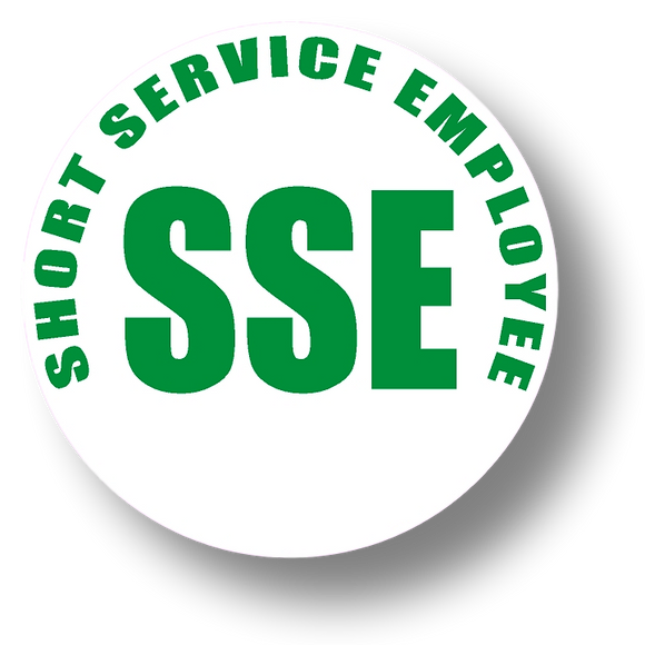 Short Service Employee (SSE) Hard Hat Sticker - Green Text on White Background - 2 inch diameter