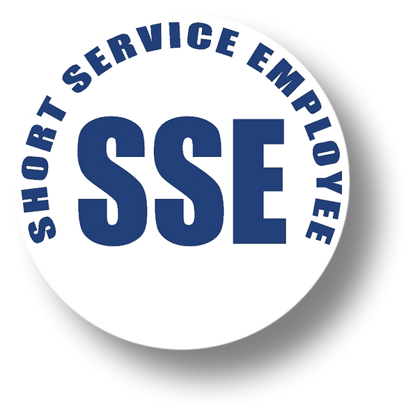 Short Service Employee (SSE) Hard Hat Sticker - Blue Text on White Background - 1.5 inch diameter