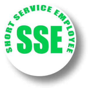 Reflective Short Service Employee (SSE) Hard Hat Sticker - Green Text on White Background - 2 inch diameter