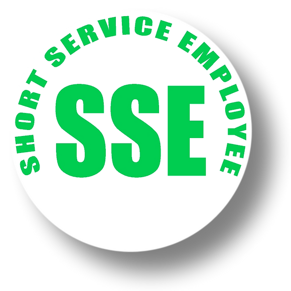 Reflective Short Service Employee (SSE) Hard Hat Sticker - Green Text on White Background - 1.5 inch diameter