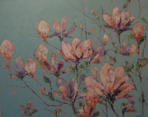 Magnolia blooms against a blue sky by Anna Perlin at Iona House Gallery