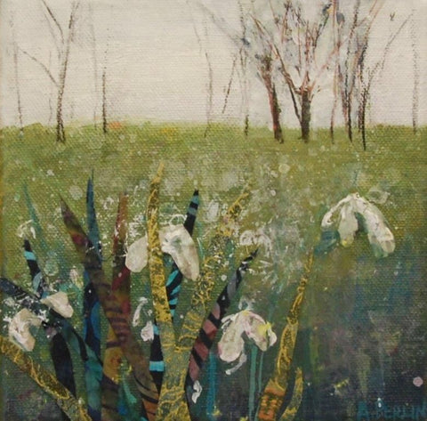 Delicate snowdrops in mixed media by Anna Perlin at Iona House Gallery
