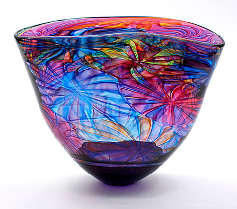 Bob Crooks purple flower bowl at Iona House Gallery