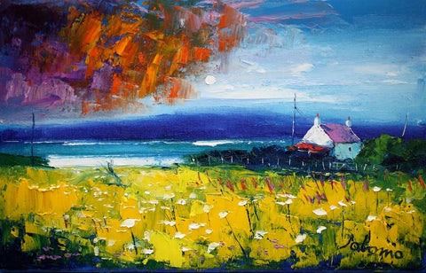 Jolomo scottish landscape with passing clouds and croft