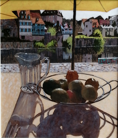 Sunlit table overlooking a harbour in bright sunshine by Mike Hall at Iona House Gallery