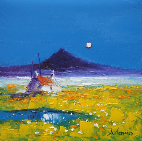 Croft scene with full moon by Jolomo at Iona HOuse Gallery