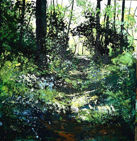 Dappled light  on a path through bluebells by Pete Gilbert at Iona House Gallery