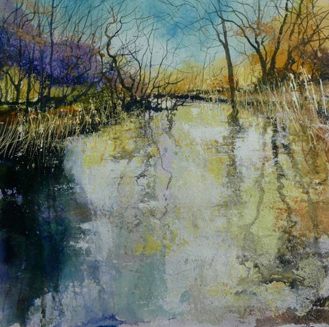 Gentle study of a river flowing in the New Forest by Pete Gilbert at Iona House Gallery
