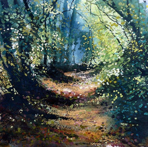 Pathway through a dell in the New Forest by Pete Gilbert at Iona House Gallery