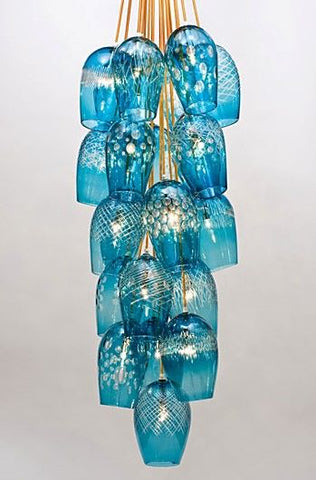 Turquoise glass chandelier by Bob Crooks at Iona House Gallery