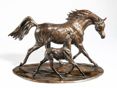 Tessa Pullan  'Arab Mare & Foal' bronze limited edition 2/ 9 H12in (30.5cm)