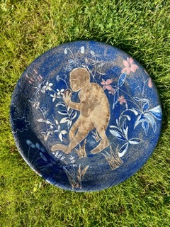 Landa Zajicek 'Monkey Platter after Cluny Tapestries' ceramic D46cm