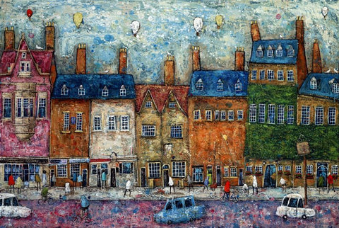 Adrian Sykes 'Balloons Over Woodstock' 46.5x70cm Signed Limited Edition Print of 250