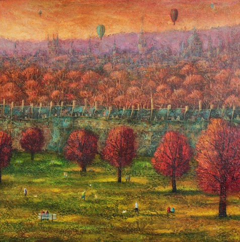 Adrian Sykes 'Oxford in Autumn' oil on board 90x90cms
