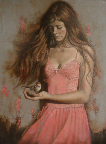 Al Saralis 'Girl with Bird II' oil on canvas 80x60cm
