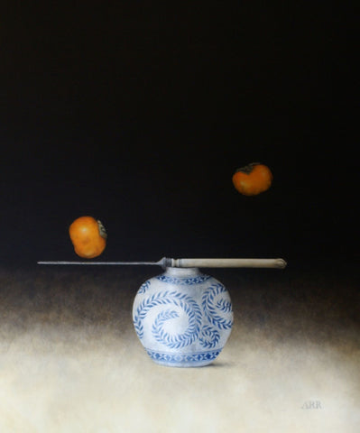 Alison Rankin 'Blue Leaf Jar with Knife and Persimmon' acrylic on paper 75x60cms