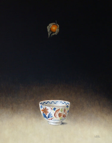 Alison Rankin 'Chipped Bowl with Falling Physalis' acrylic on paper  (small) 55x45cms