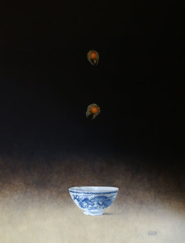 Alison Rankin 'Dragon Bowl with Two Falling  Physalis' acrylic on paper 75x60cms