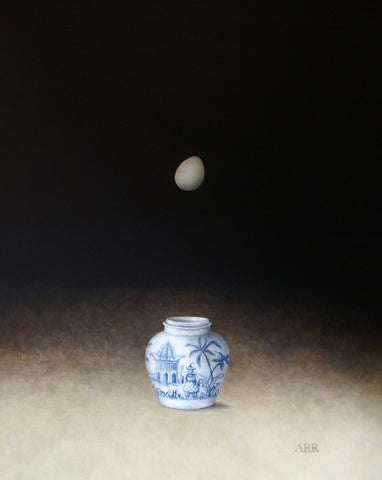 Alison Rankin 'Palm Tree Jar with Falling Egg' acrylic on paper 75x60ms