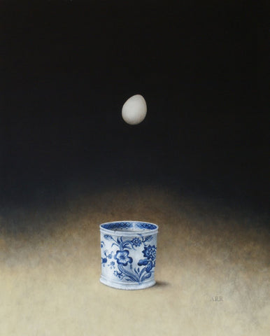 Alison Rankin 'Small Blue and White Jar with  Falling Egg' (small) acrylic on paper 55x45cms