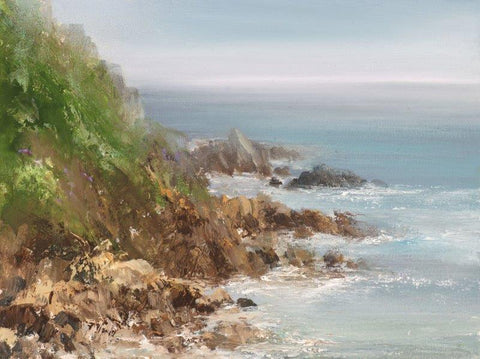 Amanda Hoskin 'As the Light breaks through the Sea Mist at Cape Cornwall' oil on board 15x20cm
