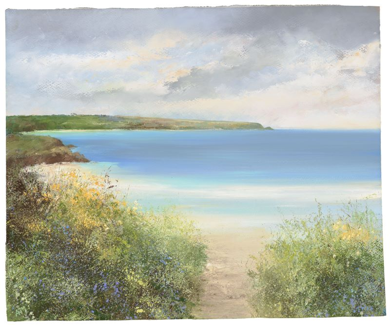 Amanda Hoskin 'Path down to the beach, Daymer Bay' oil on paper 33x42cm