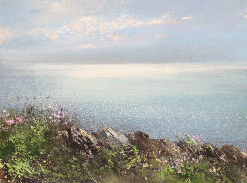 Amanda Hoskin 'Shimmering Light upon the Celtic Sea, Cape Cornwall' oil on board 15x20cm