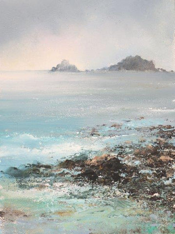 Amanda Hoskin 'The Brisons, Cape Cornwall' oil on board 22x15cm