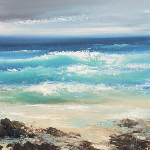 Amanda Hoskin 'Watching the Waves, Sennen' oil on board 34x33cm
