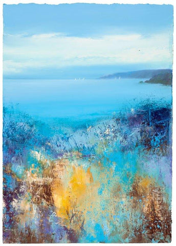 Amanda Hoskin 'Blue Hues of Summer Start Point, Devon' oil on paper 37x25cm