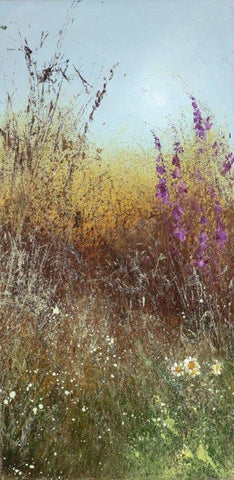 Amanda Hoskin 'Devon Hedgerow Bathed in the Summer Evening Sun' oil on canvas 29x14cms