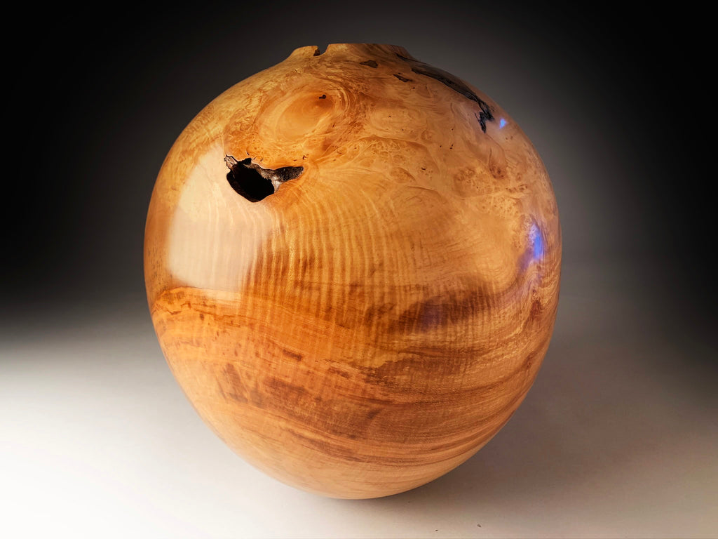 Angus Clyne 'Spalted Sycamore Burr Vessel' 40x35cm