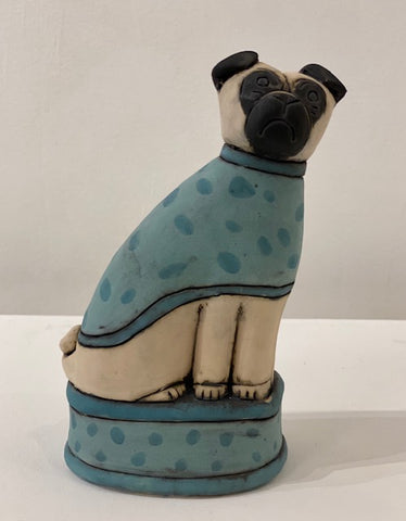 Anna Noel 'Pug with green spot coat' ceramic, Height 17cm x Width 10cm