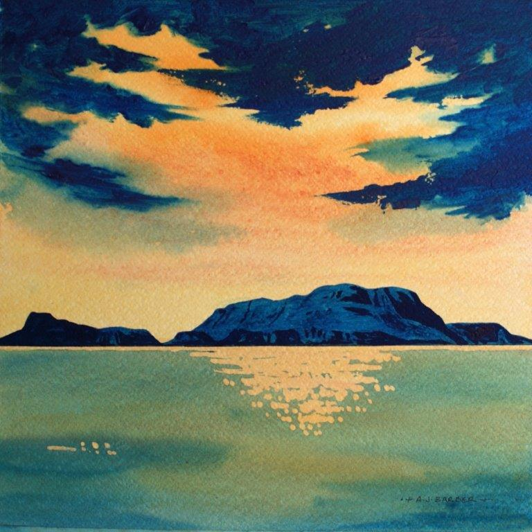 Study of sea and island with cloudscape in deep blues and peach colours by Anthony Barber at Iona House Gallery