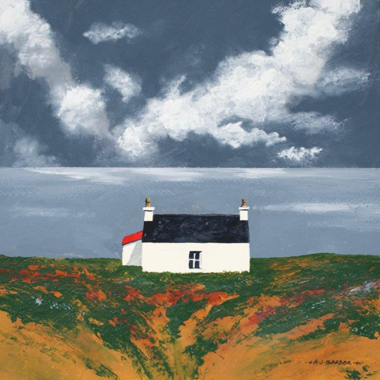 Solitary croft on a headland looking out to sea with gathering clouds by Anthony Barber at Iona House Gallery