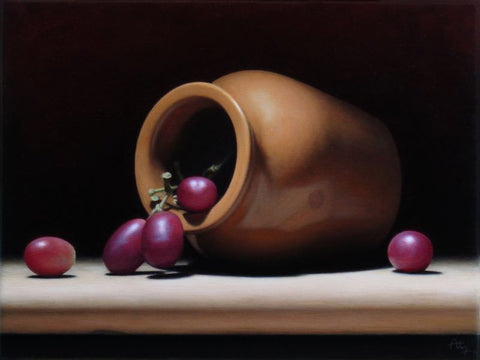 Anthony Ellis 'Still Life with Orange Vase and Red Grapes' oil on canvas 18x24cm