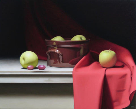 Anthony Ellis 'Still Life with Apples and Red Drapery' oil on canvas 40x50cm