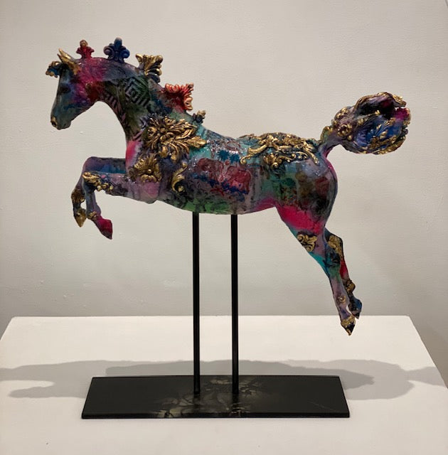 Pink and blue horse sculpture with screen printed detailing and gold leaf finish by April Young at Iona House Gallery