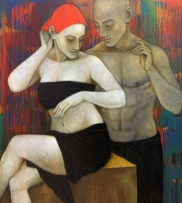 Asit Kumar Patnaik 'Acquiescence' acrylic and oil on canvas 104x 91cm