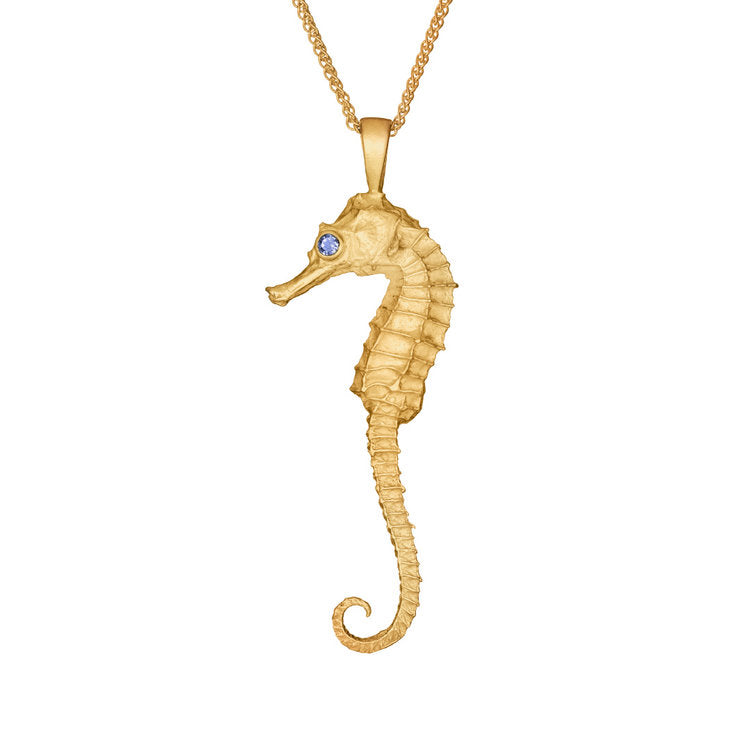 Wild and Fine (Jessica Hickman-Woolcott) Nerida Gold Vermeil Seahorse pendant with Tanzanite stone 52 x 19 mm